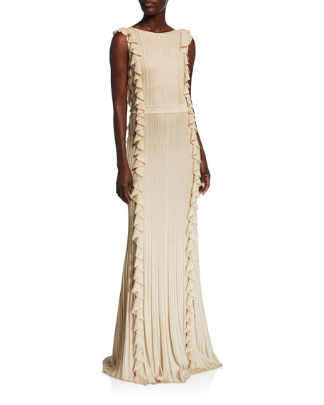 St. John Collection Shimmer Ottoman Knit Ruffled Gown