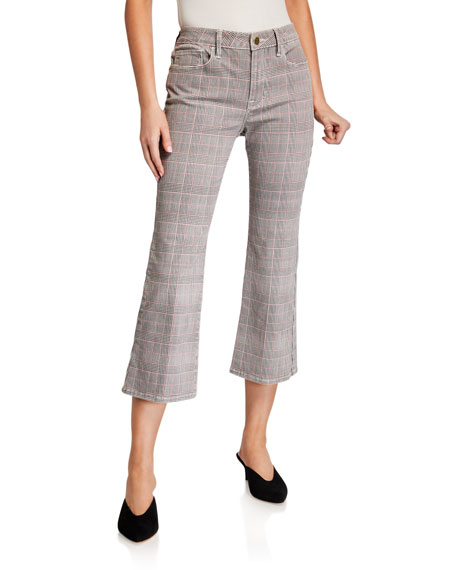 Image 1 of 3: Le Cropped Mini Boot-Cut Plaid Jeans
