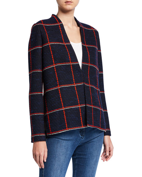 St. John Collection Maritime Plaid Knit High-Low Jacket