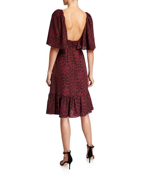 Dress The Population Francesca Animal-Print V-Neck Short-Sleeve Dress