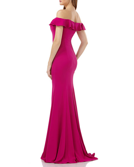 Carmen Marc Valvo Infusion Off-the-Shoulder Ruffle-Trim Mermaid Gown