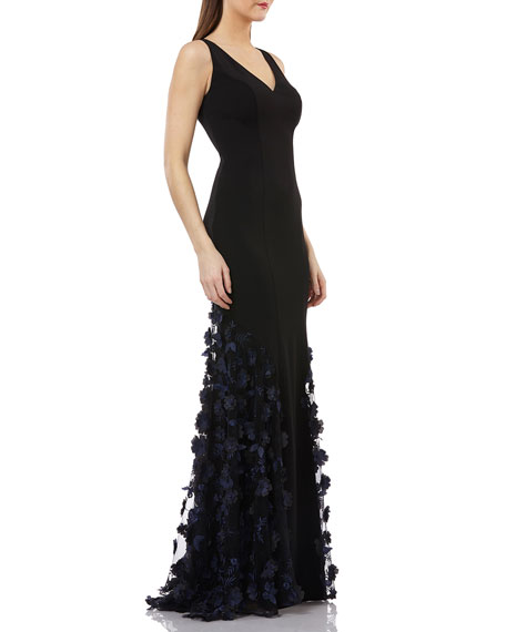 Carmen Marc Valvo Infusion Sleeveless Crepe Trumpet Gown with 3D Floral Mesh Detail