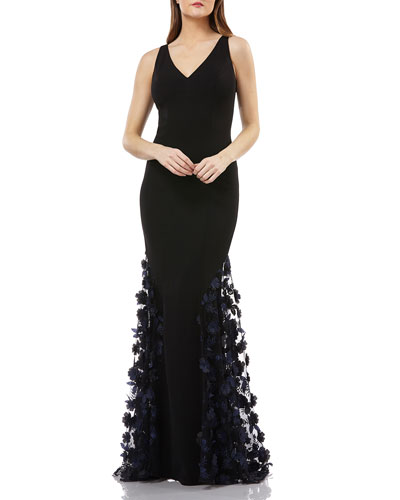 Sleeveless Crepe Trumpet Gown with 3D Floral Mesh Detail