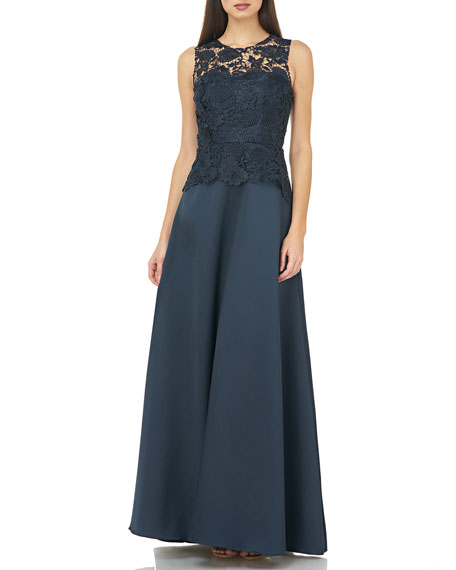 Carmen Marc Valvo Infusion Sleeveless Lace Bodice Full Skirt A-Line Gown