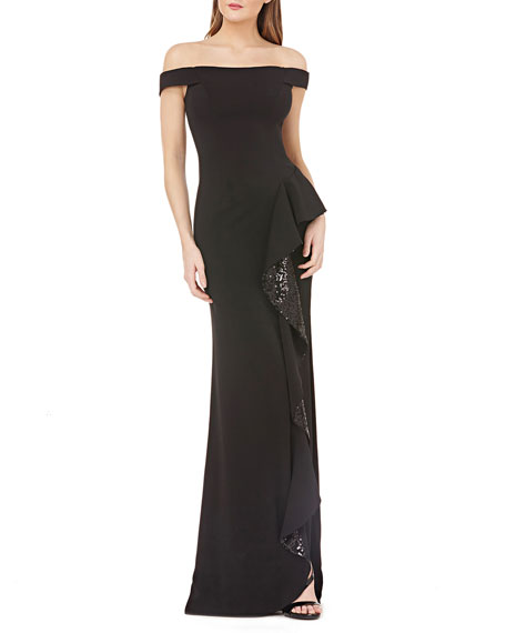 Carmen Marc Valvo Infusion Off-the-Shoulder Column Gown with Sequined Ruffle