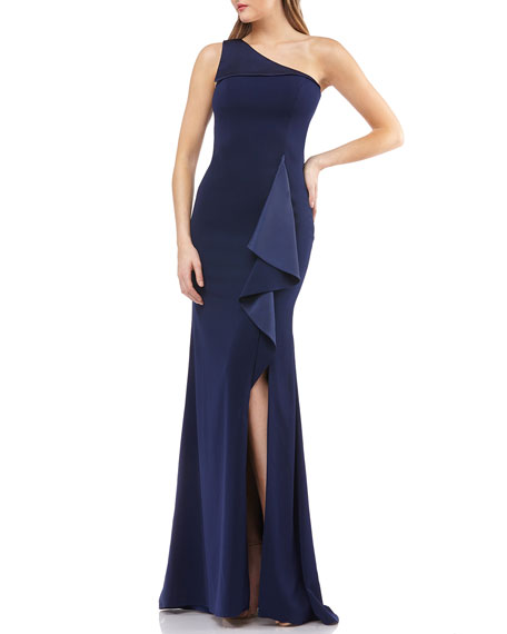 Carmen Marc Valvo Infusion One-Shoulder Ruffle-Trim Gown with Slit