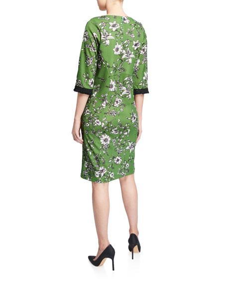 Melissa Masse Floral V-Neck 3/4-Sleeve Stretch Crepe Dress