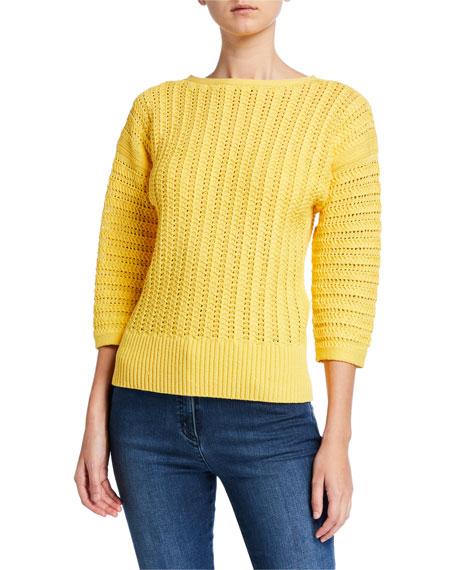 St. John Collection Slip Knit Bateau-Neck 3/4 Sleeve Sweater