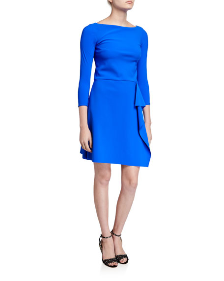 Chiara Boni La Petite Robe Bateau-Neck 3/4-Sleeve A-Line Asymmetric Skirt Dress