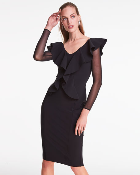 Chiara Boni La Petite Robe V-Neck Sheer Sleeve Ruffle Front Knee-Length Dress