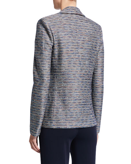 St. John Collection Space Dyed Ribbon Tweed Knit Jacket w/ Patch Pockets