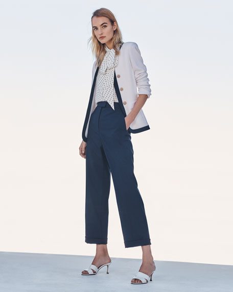 St. John Collection Cuffed Stretch Tropical Wool Cropped Pants