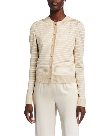 St. John Collection Degrade Ottoman Shimmer Knit Button-Front Cardigan