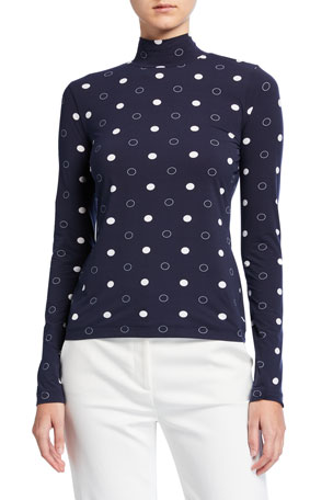 St. John Collection Dot Printed Nuda Turtleneck Top