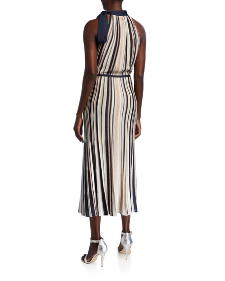 St. John Collection Glittering Striped Ottoman Halter Dress