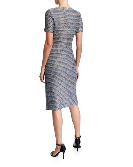 St. John Collection Spaced Dyed Ribbon Tweed Dress