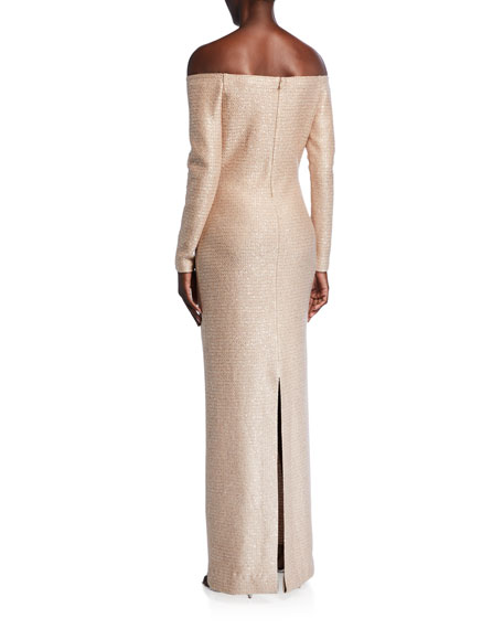 Image 2 of 2: St. John Collection Glimmering Sequined Off-the-Shoulder Gown