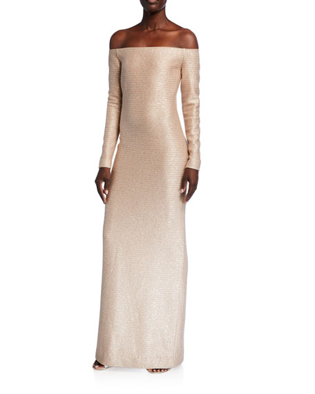 Image 1 of 2: St. John Collection Glimmering Sequined Off-the-Shoulder Gown