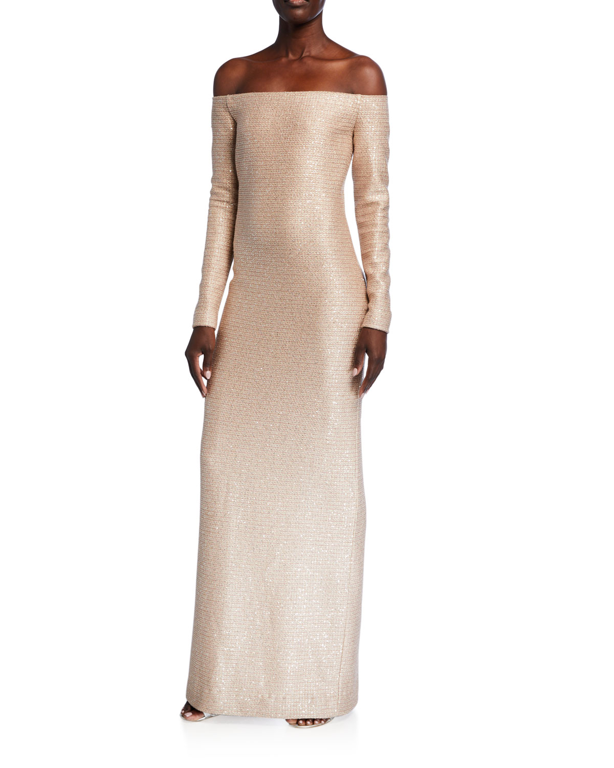 St. John Collection Glimmering Sequined Off-the-Shoulder Gown