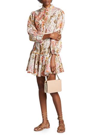 Zimmermann Bonita Embroidered Floral Short Dress