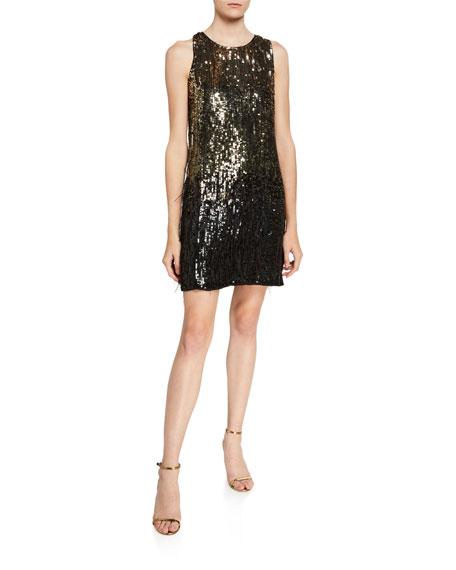 Parker Black Allegra Ombre Beaded Sleeveless Mini Shift Dress w/ Feather Trim