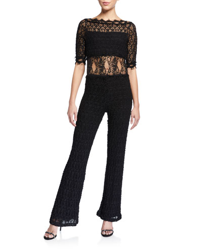 Florence Elbow-Sleeve Lace Jumpsuit