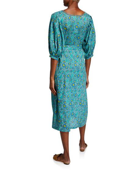 Bella Tu Harper Printed Peasant Dress with Embellishment