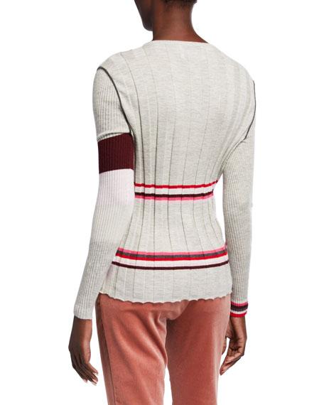 JED Cassata Striped Multi Rib Crewneck Cashmere Sweater
