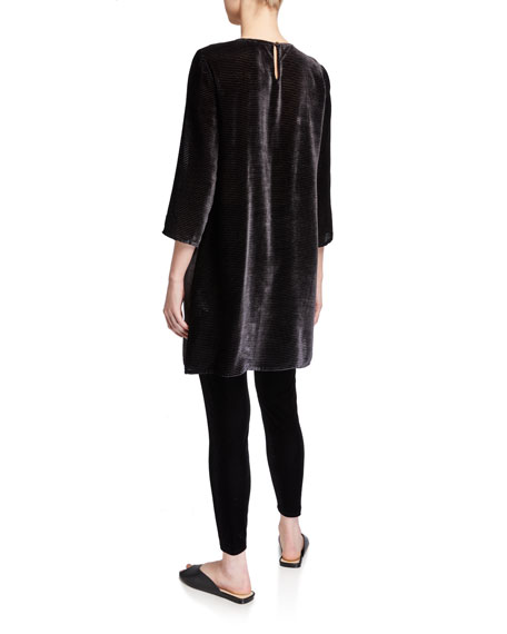 Eileen Fisher Velvet Burnout 3/4-Sleeve Tunic w/ Slip