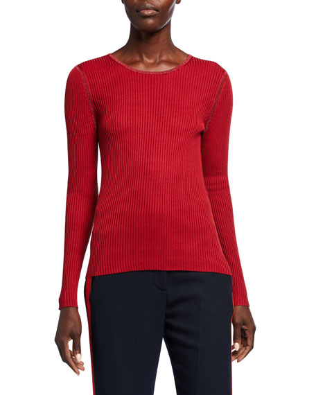 JED Colorblock Skinny Mini Rib Banded Long-Sleeve Silk Top