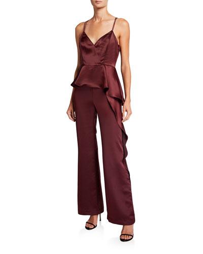 Lucille Sleeveless Satin Peplum Jumpsuit w/ Leg Side Ruffle