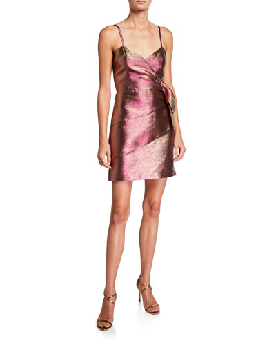 Rita Metallic Spaghetti-Strap Mini Dress with Side Bow