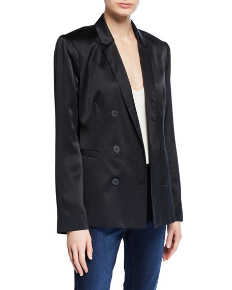 L'Agence Silk Satin Double-Breasted Blazer