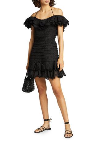 Zimmermann Super Eight Off-Shoulder Mini Dress