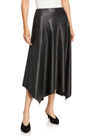 Rebecca Taylor Vegan Leather Handkerchief Midi Skirt