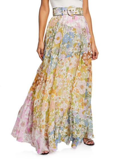 Zimmermann Super Eight Belted Floral Maxi Skirt