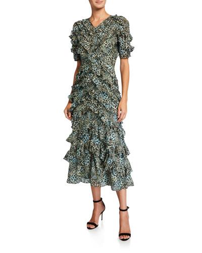 Short-Sleeve Lynx Ruffle Long Dress