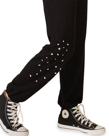 Monrow Vintage Drawstring Sweatpants w/ Clustered Rhinestone Detail