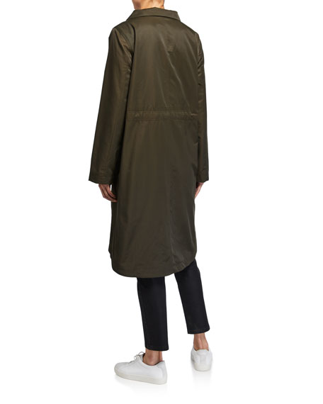 Eileen Fisher Plus Size Lor Stand-Collar Zip-Front Fleece Lined Drawstring Waist Coat