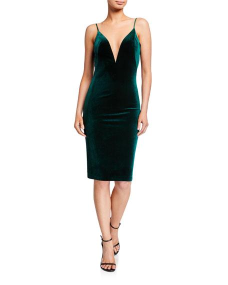 Love, Theia Plunge-Neck Velvet Slip Dress