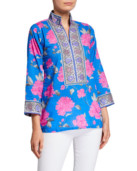 Bella Tu Peony-Print Mandarin Collar Tunic with Borders