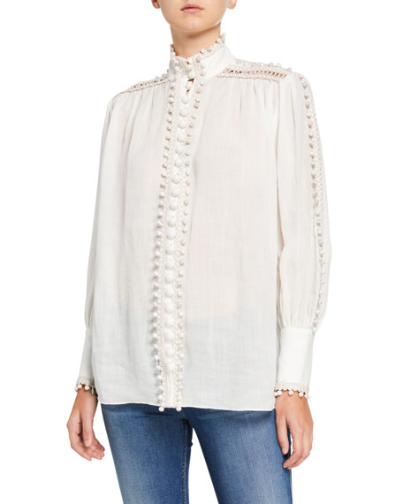 Zimmermann Super Eight Corded High-Neck Blouse