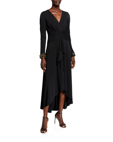 Shoshanna Luella V-Neck Long-Sleeve Draped High-Low Dress