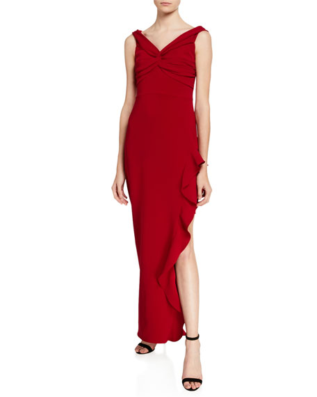 Shoshanna Wells V-Neck Sleeveless Side Ruffle Column Gown