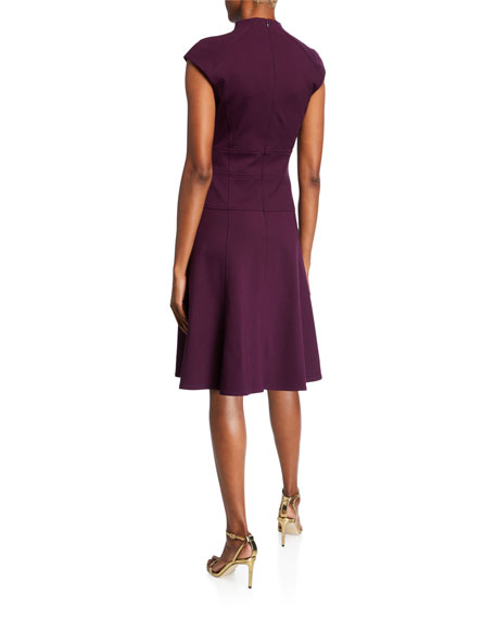 Nanette Lepore Cap-Sleeve Solid Ponte Flare Dress