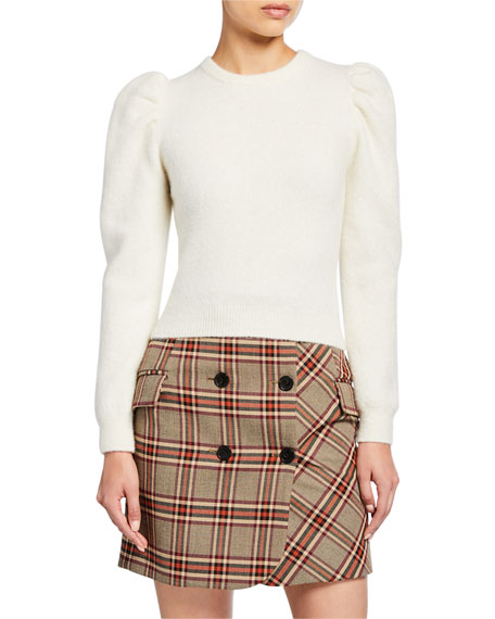 Derek Lam 10 Crosby Puff-Sleeve Alpaca Sweater