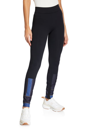 No Ka Oi Denim-Patch Paneled Leggings