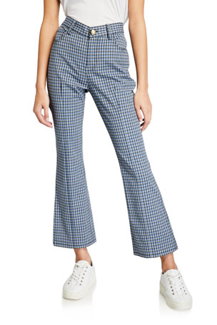 Derek Lam 10 Crosby Cropped Mouline Check Flare Jean Trousers