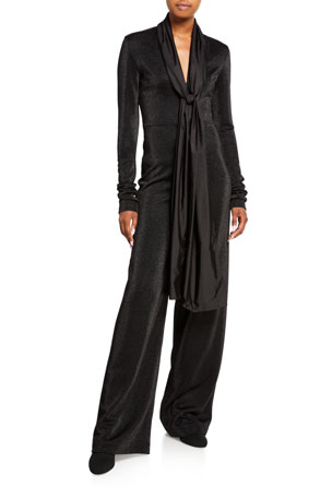 No Ka Oi Blackout Metallic Wide-Leg Jumpsuit w/ Neck Tie