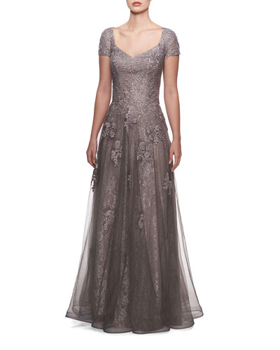 V-Neck Cap-Sleeve Tulle & Lace A-Line Gown